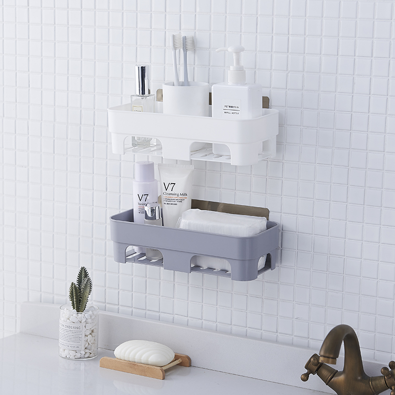 Bathroom Shelf Wall Hanging Bathroom Shelf Free Punching Toilet Suction Wall Suction Cup Bathroom Storage Drain Rack Lw038233