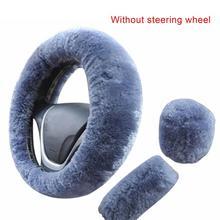 3 sztuk miękki pluszowy wiosna pokrywa koła kierownicy zestaw z zatrzymania dźwignia + hamulec ręczny osłony wełny Auto samochód wyposażenie wnętrza tanie tanio CN (pochodzenie) Plush Kierownice i piasty kierownicy Winter 3Pcs Set 38cm(Fits most standard steering wheels )