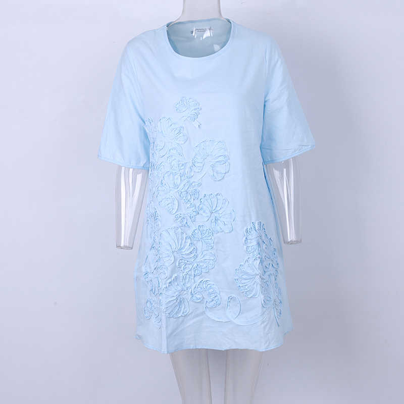 Plus Größe S-3XL Vintage Sommer Frauen Lange Beiläufige Lose Shirts O Neck Stickerei Bluse Kurzarm Große Shirts Für Weibliche