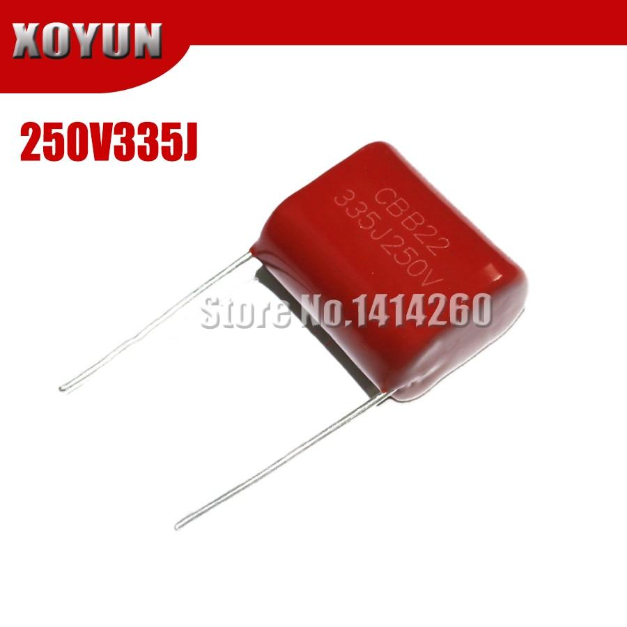 10pcs/lot CBB 250V335J 250V 3.3UF Pitch 20MM 335J 250V CBB Polypropylene Film Capacitor