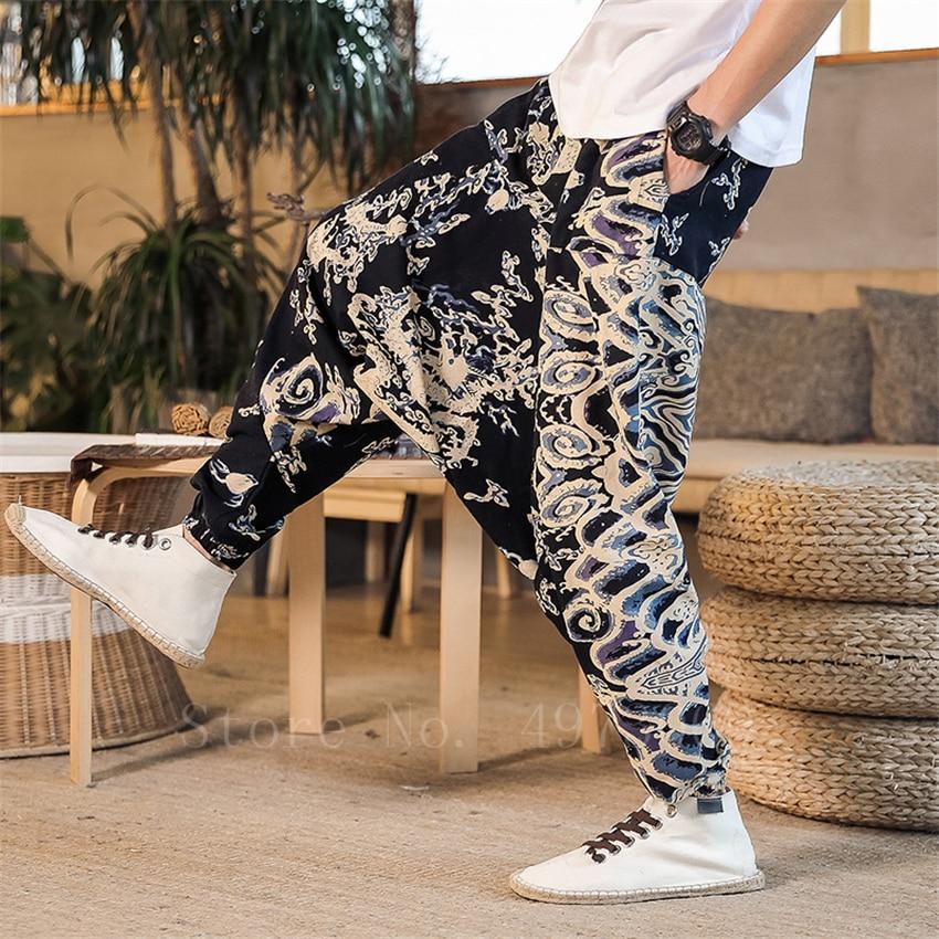 Japanese Traditional Men Harem Pants Floral Printed Harajuku Oriental Wide Leg Trousers 8Colors Man Linen Cotton Hanging Pants