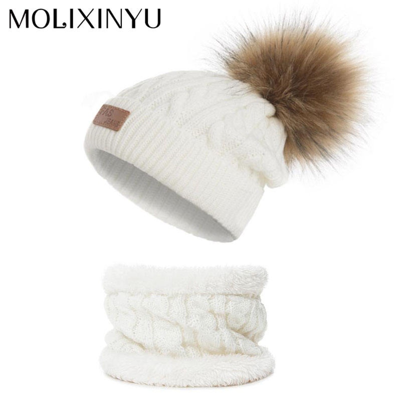 MOLIXINYU 2/Ps New Fashion Baby Beanies Kids Pompon Hat Set Girl Winter  Hat Baby Boy Cap Warm Knitted Baby Cap 1-5 Years Hat