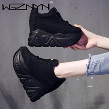 NEW Trendy Outdoor Shoes Women High Top Sneakers Women Platform Ankle Boots Basket Femme Chaussures Femmes Height Increase Shoes