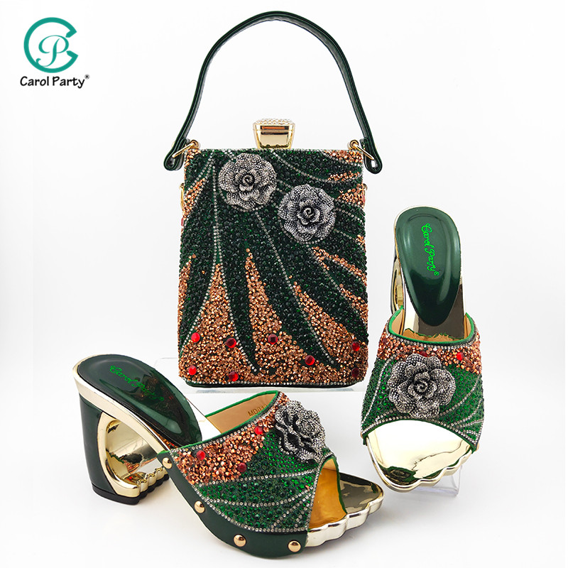 High Quality Italian Design Italian Lady Shoes Matching Bag in Dark Green Color Nigerian Women Shoes and Bag Set For Party