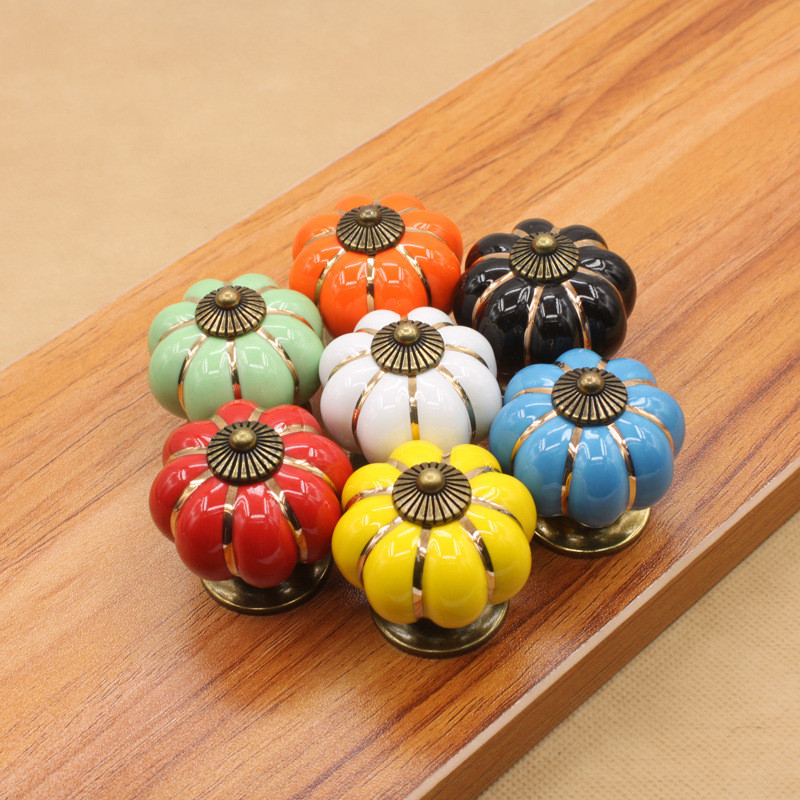 Creative Ceramic  Pumpkin Knobs Cabinets Cupboard Handles Antique Dresser Kitchen Cabinet Door Handle Furniture Accessories
