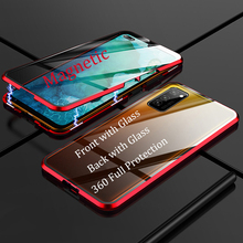 For Samsung Galaxy A91 A71 A51 Magnetic Case 360 double-sided Tempered Glass Case for Galaxy S10 Lite M80S A91 Metal Bumper Case