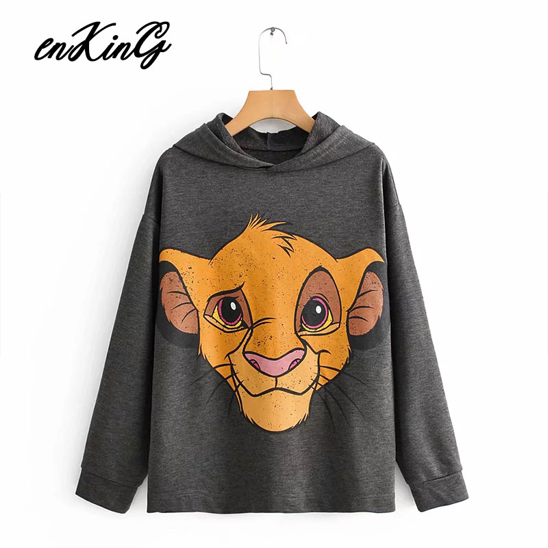 2019 Sweatshirt Women Black Pink Oversized Hoodie Streetwear Lion King Print Cartoon Women Sweatshirt Casual Women Sweatshirt