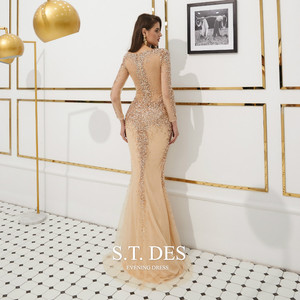 Image 2 - Prom Dresses 2020 Summer S.T.DES Hot Gorgeous Golden Illusion Full Sequins Beaded Mermaid Long Sleeves Long Evening Dress