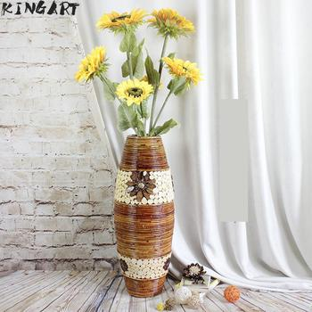 деревянные цветочные горшки   Большая Ретро бамбуковая белая напольная ваза большая гостиная декоративная напольная ваза большого размера домашнего искусства и искусс...