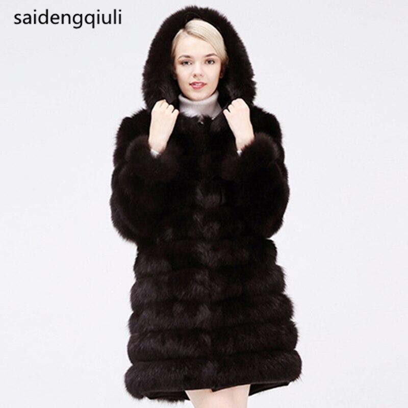 New 2019 Detachable Fox Fur Coat Winter Warm Clothes Fashion Style Real 100% Natural Fox Fur Coats