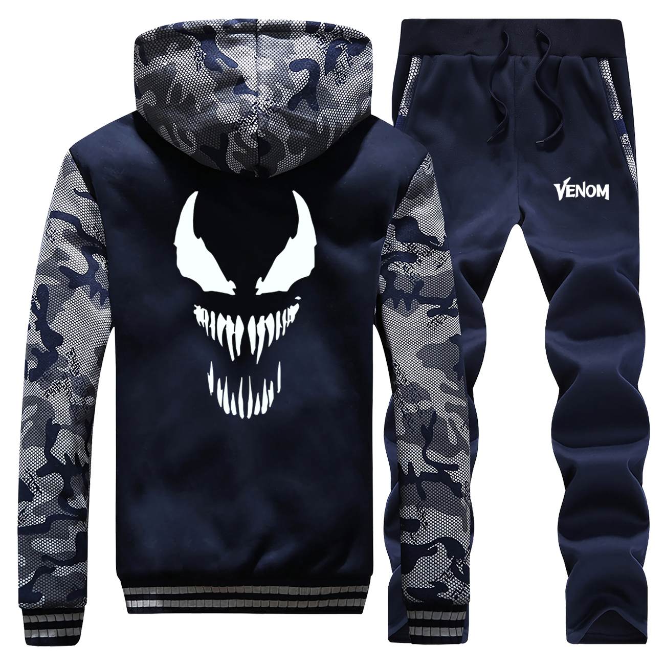Venom Mens Jacket+Pants 2 Piece Sets Winter Camouflage Man Sweatshirts Warm Clothing Fashion Tracksuit Men Hoodies Trousers Suit