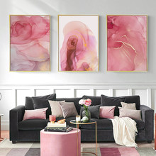 Pink Marble Texture Print Painting Fluid Art Poster Abstract Canvas Nordic Modern Wall Pictures For Living Room