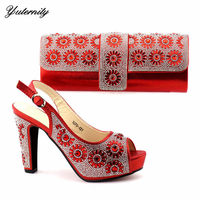 High Quality Red Color Peep Toe Shoes And Bag Set Latest Design Italian Spike Heels Shoes And Purse Set For Wedding Size 38 42
