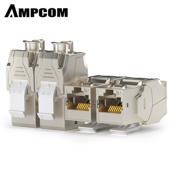 AMPCOM CAT8 Keystone Jack Connectors Network RJ45 Module Socket Full Shielded TOOLLESS Type 40G 550MHz/2000MHz PoE/PoE+100W
