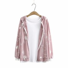Plus size zipper jackets women 2021 floral Embroidery chiffon hooded summer thin Women coat white pink Sun protection clothing