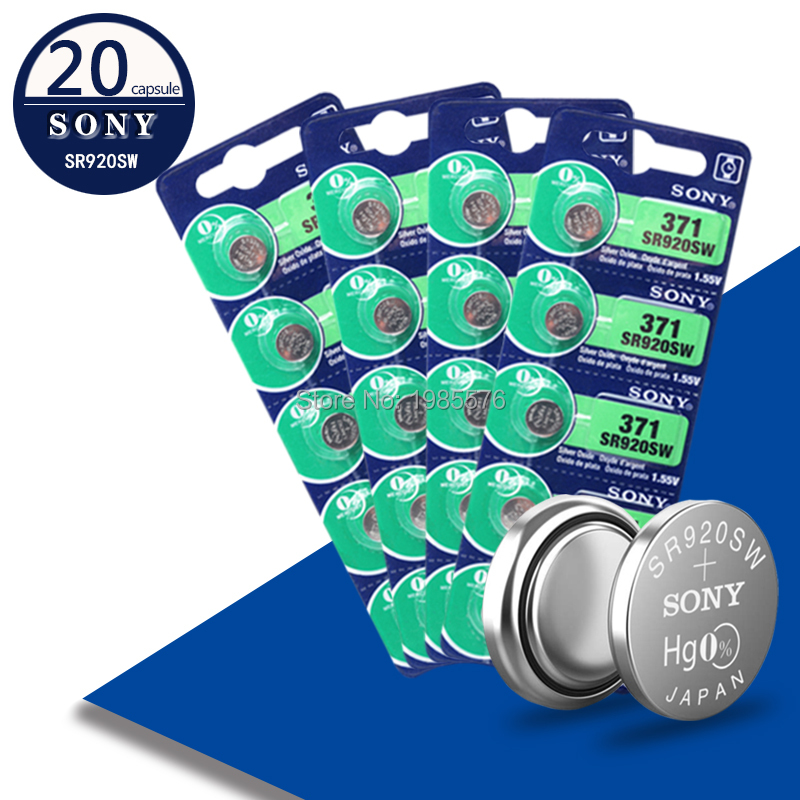 20pcs For Sony Original 371 SR920SW 920 LR920 AG6 LR920 LR69 171 1.55V Silver Oxide Watch Battery Watch Battery MADE IN JAPAN