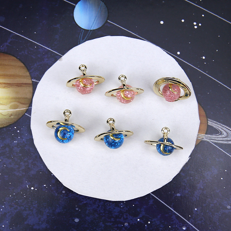 10pcs 3D Moon Planet Enamel Charms Alloy Glitter Space Pendants Fit Earrings Bracelet Making Material DIY Jewelry Accessories