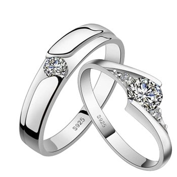 Korean Style Eternity Lovers Wedding Party Dating Classic Zircon Couple Rings S925  FS99 1