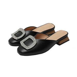 Image 5 - Genuine Leather Mules Women Crystal Buckle Closed Toe Slippers Casual Square Heels Slides Slip on Loafers Ladies Big Size Shoes