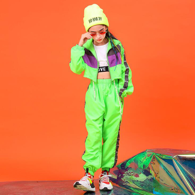 Children Green Hip Hop Clothing Outfits Short Jacket Top Crop Coat Running Casual Pants For Girl Jazz Dance Costume Clothes Wear