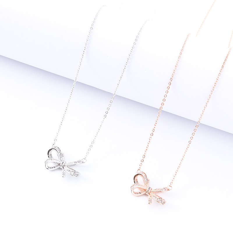 Bow Pendant Necklace Female Fashion Jewelry Lady Personality Party Decoration Charm Girlfriend Birthday Gift