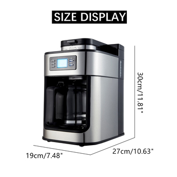 1000W Electric Coffee Maker Machine Fully-Automatic Drip Coffee Maker Tea Coffee Pot Barista Home Kitchen Appliance 1200ml 220V 6