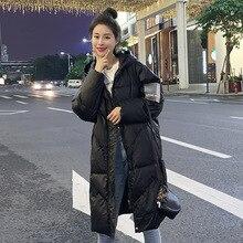 Women's 90% white duck down jacket down jacket 2019New winter thick warm jacket hooded X-Long down jacket Doudoune Femme XL недорого
