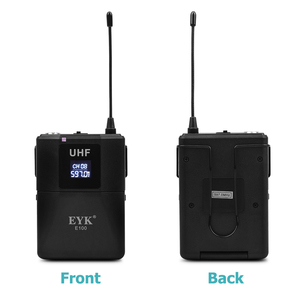 Image 5 - EYK E100 Dual Way Transmitter UHF Wireless Microphone with Handheld + Bodypack + Lapel + Headset Mic for Karaoke Church Youtube