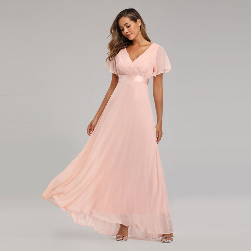 Beauty-Emily 2019 Simple Evening Dresses Elegant V-Neck Chiffon Formal Party Dress Prom Gown Robe De Soiree 2019