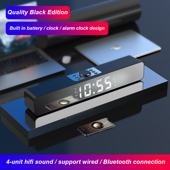 LED Sound Bar Alarm Clock Wired Wireless Bluetooth Speaker Home Theater Surround Subwoofer AUX USB For PC TV Computer image