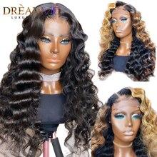 Ombre blond peruka z mocnymi lokami 150% gęstość kręcone ludzkie włosy peruka 13X4 kręcone koronki Fronnt peruka dla kobiet czarny HD koronki przodu peruka