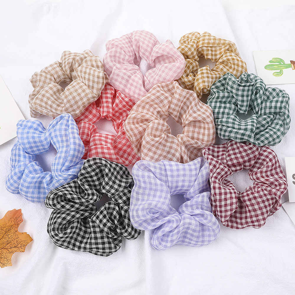 Women Mesh Thin Plaid Sweet Scrunchies High Elastic Rubber Bands Girls Ponytail Hair Scrunchies Hair Accessories New Arrival