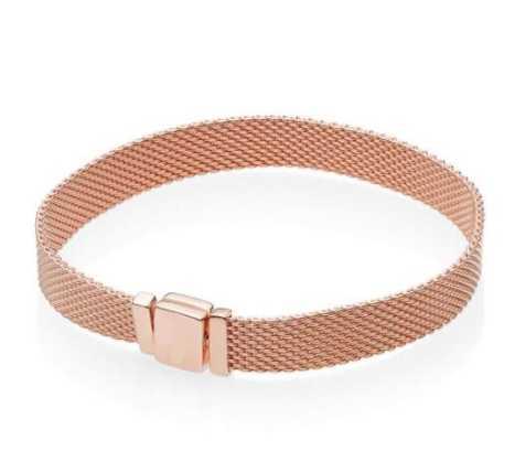 Neue Original 925 Sterling Silber Armband Rose Gold Woven Mesh Reflexions Armbänder Armreif Fit Frauen Bead Charm Fashion Schmuck
