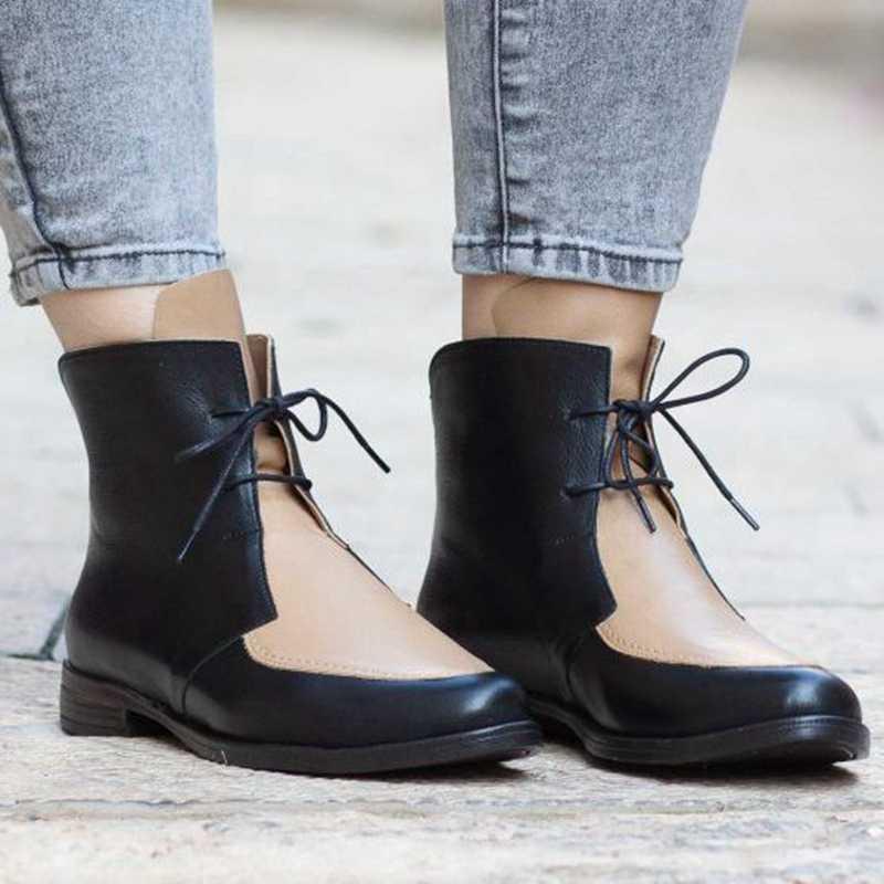 PUIMENTIUA moda çizmeler kadın platformu Lace Up rahat ayakkabılar yarım çizmeler kalın topuk kısa çizme kadın ayakkabıları Drop Shipping