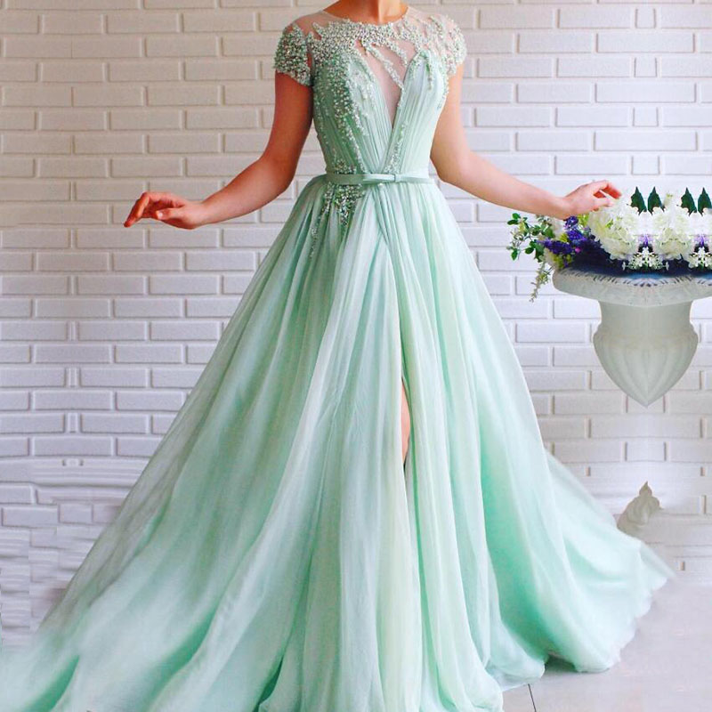 Mint Green Prom Dress O-Neck Cap Sleeves Beaded With Pearls A-Line Tulle Sashes Backless Long Formal Evening Gown For Party