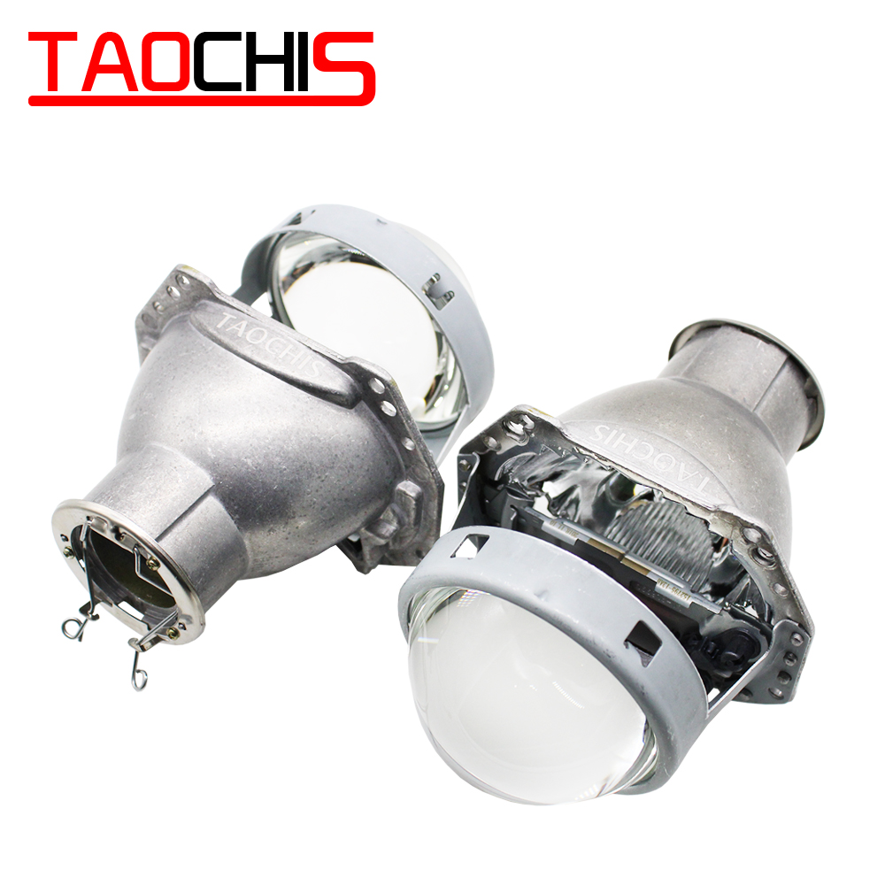 Taochis 3.0 polegadas cabeça luz retrofit hella 3r g5 bi xenon lente do projetor usando h7 halogênio projetor xenon lâmpadas led