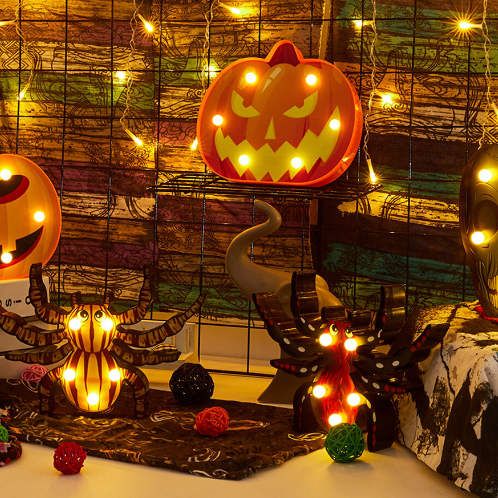 Spider Pumpkin Bat Shape Night Lights Terror LED Luminous Table Lamp Ghost Festival Party Decor Halloween Lighting 4