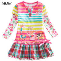 VIKITA Brand Girls Dresses Kids Baby Striped Roupa Infantil Dress Child Clothes Girls Deer Elephant Cartoon Flower Dresses L323