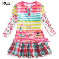 Vestidos de marca VIKITA para niñas, vestidos infantiles a rayas para bebés, ropa Infantil para niñas, vestidos de flores de dibujos animados de elefantes y ciervos L323
