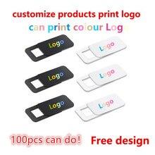 100 1000 Pcs Custom Producten Gratis Print Logo Rechthoek Webcam Cover Ultra Dunne Sluiter Slider Camera Lens Cover Voor uw Logo