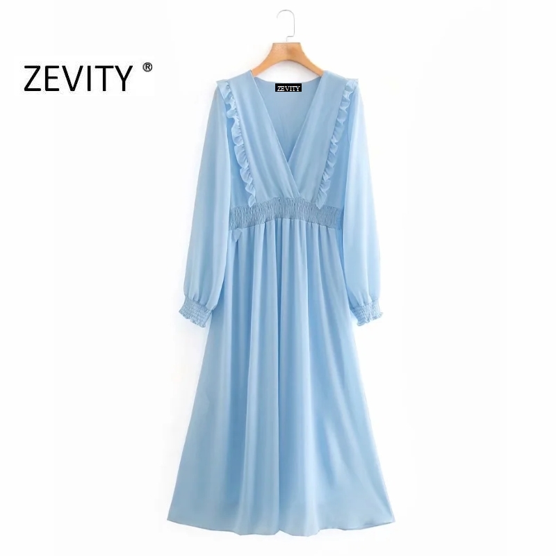 ZEVITY women v neck solid color elastic waist vestidos cascading ruffles midi dress female chic long sleeve party dresses DS4144