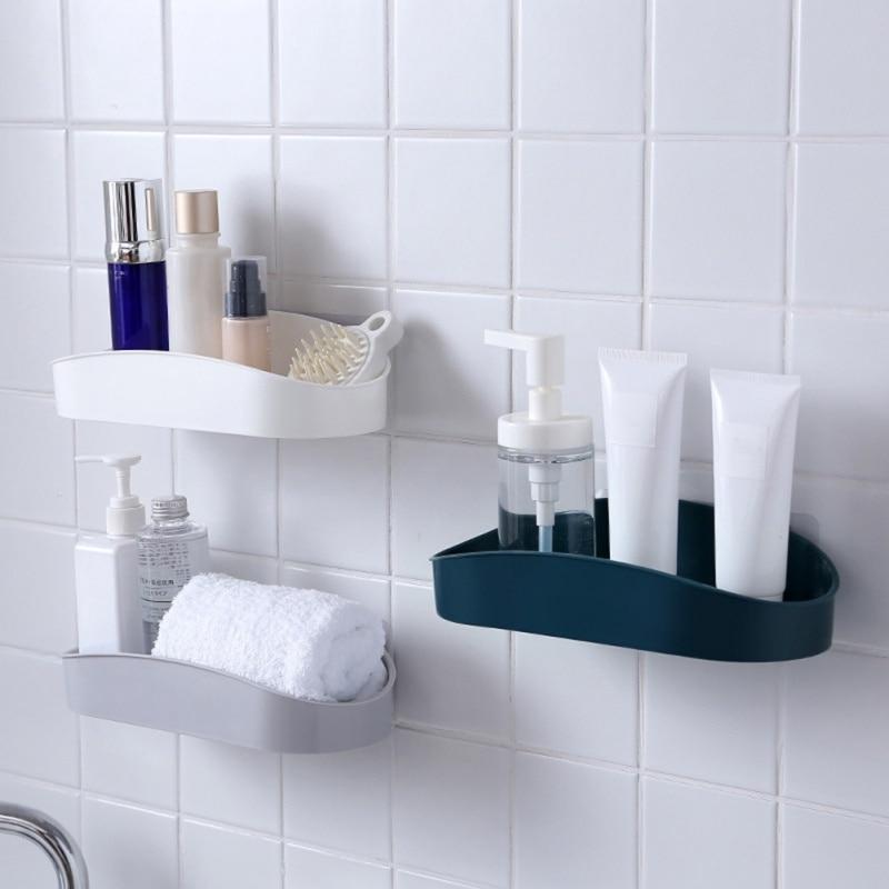 Bathroom Shelf Adhesive Badkamer Rek Storage Rack Corner Shower Shelf Kitchen Home Decoration Bathroom Floating Accessories