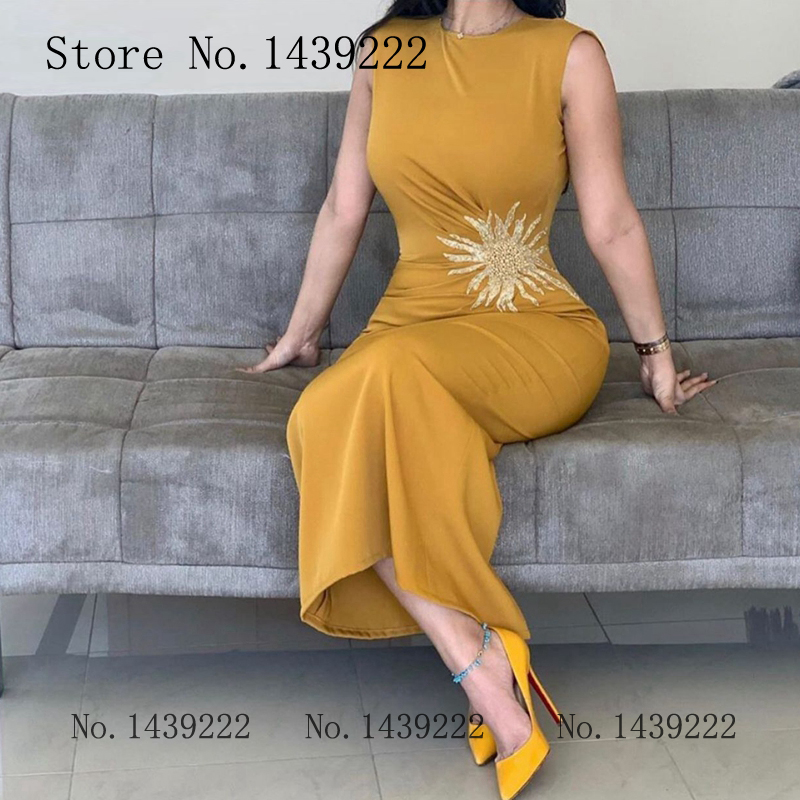Old Yellow Satin Beads Muslim Evening Dress Celebrity Scoop Tanks Formal Dresses Saudi Arabric Robe De Soiree Evening Party Gown