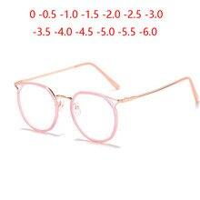 Gafas de miopía para hombre y mujer, anteojos con montura de oro rosa para miopía, gafas con prescripción de Ojos de gato, Gafas de Metal para miopía 0-0,5-1,0-1,5 a-6,0
