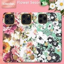 Чехол для телефона с блестящими цветами и бриллиантами для iPhone 11 Pro Max/11 Pro/11, Роскошный Жесткий чехол с кристаллами для женщин, ударопрочный чехол KINGXBAR