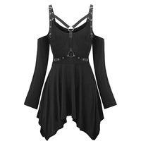 Rosegal Plus Size Gothic Punk T Shirt Sexy Hollow Harness Buckle Belt Ribbon Tee Top Halloween Cold Shoulder T Shirt Long Tunic