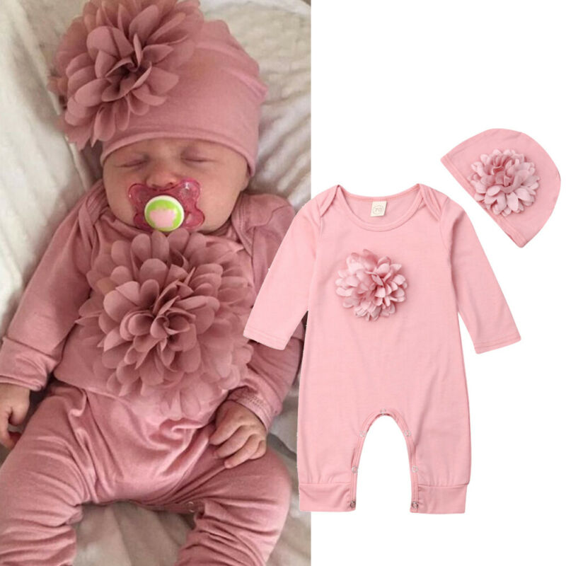 Newborn Clothes Baby Girls Long Sleeve Baby Rompers Pink Floral Jumpsuit Baby Bodysuit Toddler Hat Baby Girls Sets Clothing 2019