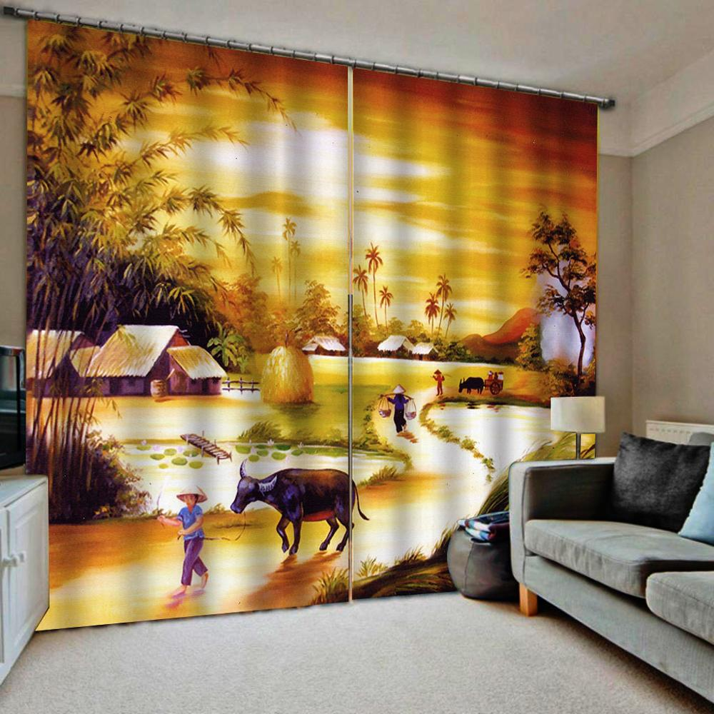 Customized size Luxury Blackout 3D Window Curtains For Living Room sunset curtains nature scenery golden landscape curtain