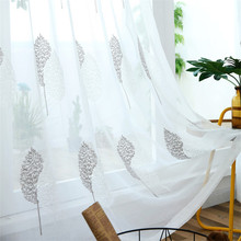 White embroidered tulle curtains for living room  bedroom window sheer grey leaves curtain drapes ready made