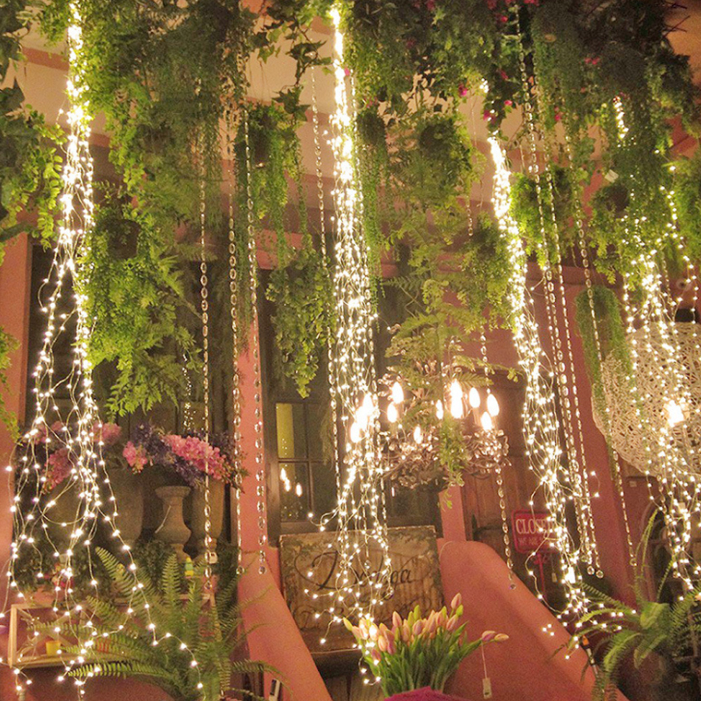 2 Meter Waterfall Vines Lights Copper Wire Lights Fairy String Lights Plug In For Cafe Bar Christmas Party Wedding Decoration
